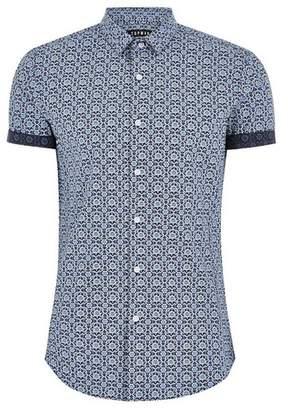 Topman Mens Blue Printed Muscle Short Sleeve Shirt