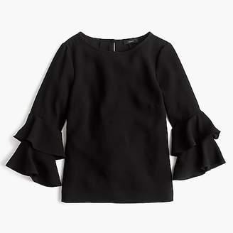 J.Crew Petite Tiered bell-sleeve top in drapey crepe