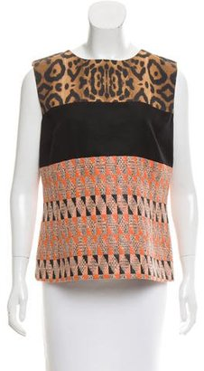 Giambattista Valli Sleeveless Jacquard-Paneled Top w/ Tags