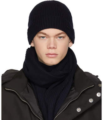 BOSS Navy Laurenzi Scarf and Beanie Set