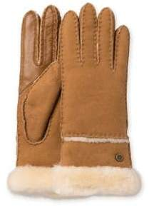 UGG Exposed Slim Sheepskin-Trimmed Leather Gloves