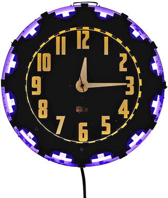 Rejuvenation Advertising Clock w/ Aztec Motif by Electric Neon Clock Co