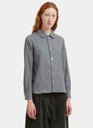 École De Curiosités Benjamin Round Collar Melton Shirt in Grey
