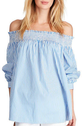 Polo Ralph Lauren Stretch Poplin Off The Shoulder Mdaln Stripe Top