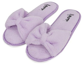 7518be6072393 AERUSI Women s Soft and Cozy Ribbon Plush Bow Sandal Slippers With No-Slip Rubber  Sole