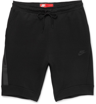 Nike Slim-Fit Tapered Cotton-Blend Tech Fleece Shorts $70 thestylecure.com