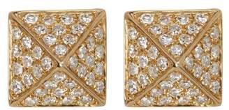 Ef Collection 14K Yellow Gold Pave Diamond Mini Pyramid Stud Earrings - 0.18 ctw
