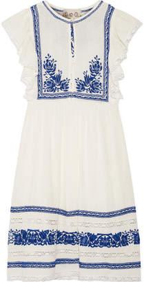 SEA - Crochet-trimmed Embroidered Cotton-gauze Mini Dress - Cream $470 thestylecure.com