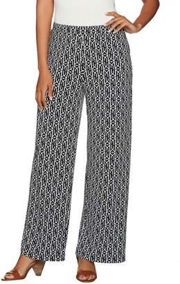 Susan Graver Regular Printed Liquid Knit Pull-On Wide Leg Pants
