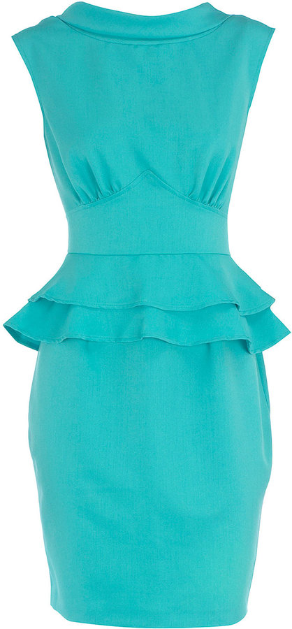 Turquoise double peplum dress