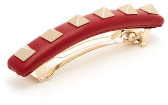 Valentino Rockstud Leather Hair Clip - Womens - Red