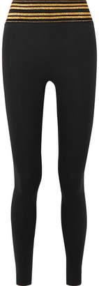 All Access - Center Stage Metallic Striped Stretch Leggings - Black