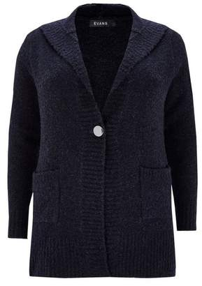 Evans Navy Blue Knitted Hooded Cardigan