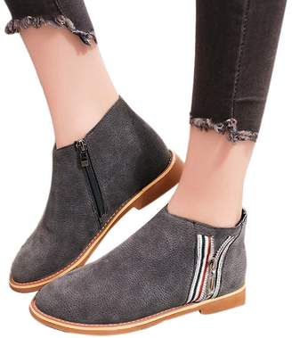 Farjing Shoes for Womens Fashion Vintage Women Ankle Boots Soft Leather Flat Shoes Comfortable Boot Shoes(,