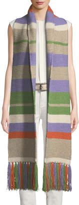 Loro Piana Darlington Multicolored Stripe Knit Scarf