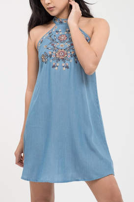 Blu Pepper Floral Embroidery Dress