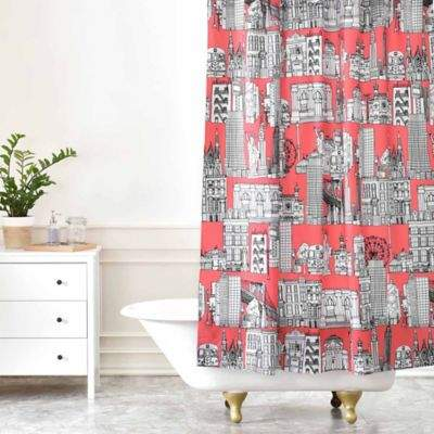 Sharon Turner New York Shower Curtain in Coral