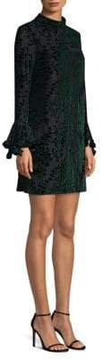 Laundry by Shelli Segal Burnout Velvet Bell Sleeve Dress