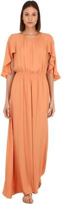 L'Autre Chose Long Silk & Acetate Dress