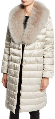 Max Mara The Cube Here is the Cube Collection Novedop Satin Down Jacket w/ Travel Case