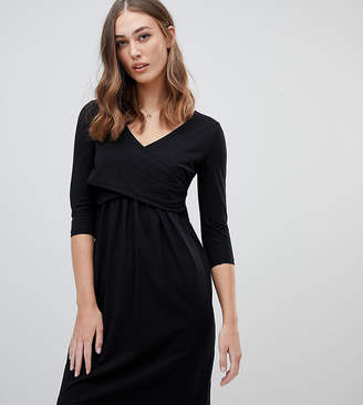 Mama Licious Mama.Licious Mamalicious nursing wrap jersey mini dress in black
