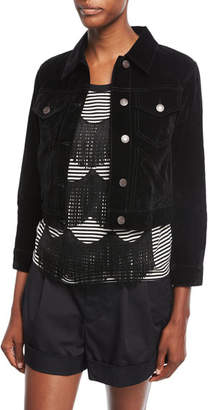 Marc Jacobs Cropped Velvet Button-Front Jacket