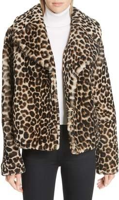 A.L.C. Grant Leopard Print Genuine Shearling Jacket