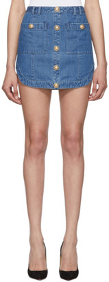 Balmain Blue Soft Denim Miniskirt