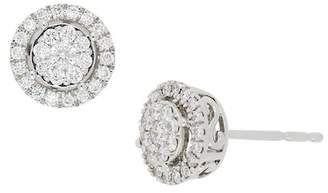 Bony Levy 18K White Gold Pave & Halo Set Diamond Detail Stud Earrings - 0.34 ctw