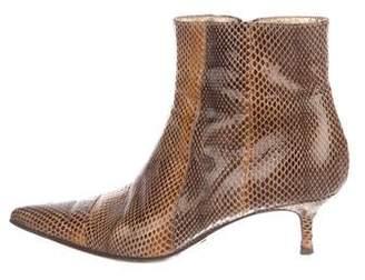 Dolce & Gabbana Snakeskin Pointed-Toe Boots