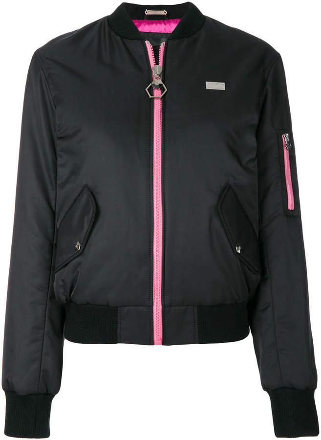 contrast zip bomber jacket