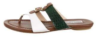 Jimmy Choo Embossed Leather Slide Sandals