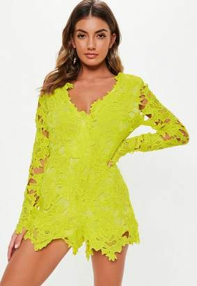 e5023527b28 Missguided Lime Lace Plunge Long Sleeve Playsuit