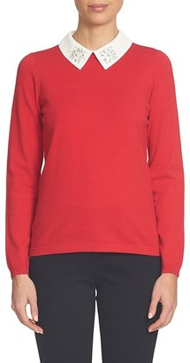 Women's Cece Embellished Contrast Collar Sweater $99 thestylecure.com