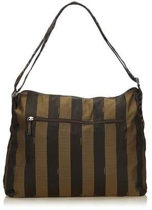 Fendi Vintage Pequin Nylon Shoulder Bag