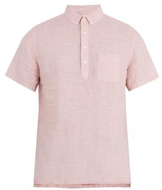 Onia Josh Short Sleeved Linen Polo Shirt - Mens - Pink