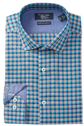 Original Penguin Twill Plaid Heritage Slim Fit Dress Shirt