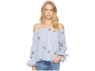 J.o.a. Embroidered Cold Shoulder Top with Front Bow