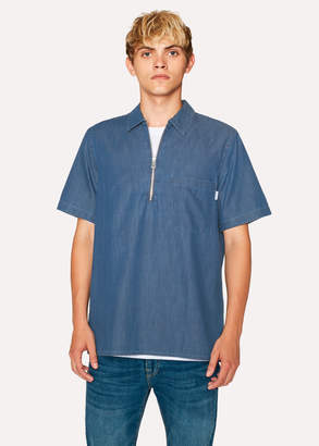 Paul Smith Men's Mid-Wash Denim Short-Sleeve Half-Zip Shirt