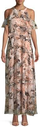 Calvin Klein Collection Floral Cold-Shoulder Maxi Dress