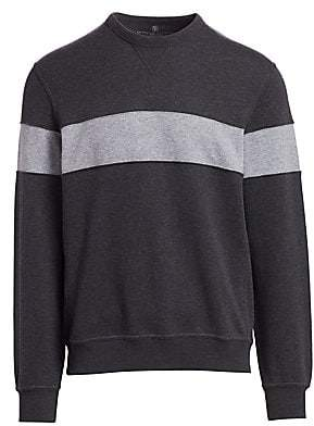 Brunello Cucinelli Men's Spa Colorblock Crew Sweater