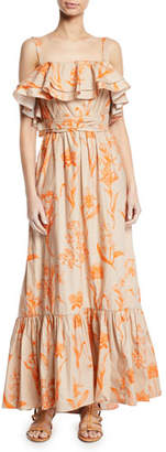 Johanna Ortiz Tropical Wave Ruffled Square-Neck Belted Floral-Print Poplin Maxi Dress