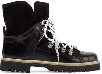 Ganni Edna Shearling-lined Leather And Suede Ankle Boots - Black