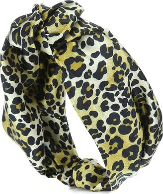 Jennifer Behr Leopard stretch-silk headband