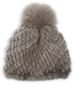 Pologeorgis Women's Knit Mink & Fox Fur Pom-Pom Beanie