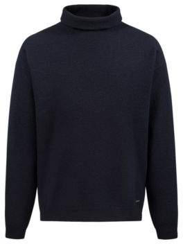 HUGO Boss Unisex oversized sweater in felted wool funnel neck M Dark Blue