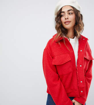 Monki textured short jacket with oversized pockets in red