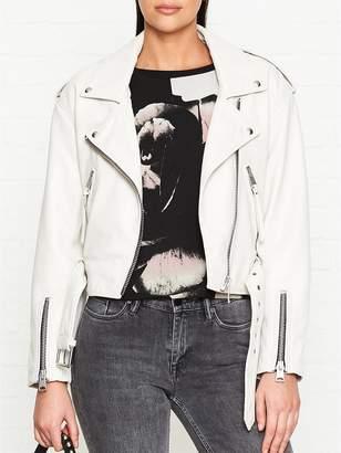 AllSaints Anderson Leather Biker Jacket- Cream