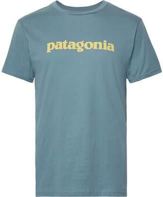Patagonia Logo-Print Organic Cotton-Jersey T-Shirt - Men - Blue