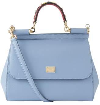 Dolce & Gabbana Medium Leather Applique Handle Sicily Bag